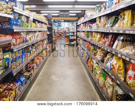SEOUL KOREA - MARCH 13 2017: interior of Saruga supermarket. Saruga supermarket is one of supermarkets in South Korea.