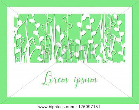 Openwork carved greeting card. Laser cutting template. Design suitable for envelopes menus covers festive invitations decorative interior elements.