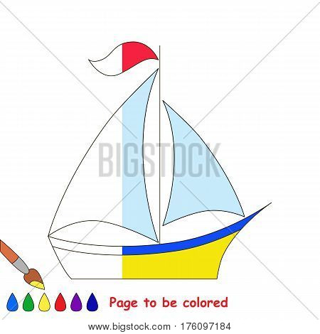Boat to be colored, the coloring book to educate preschool kids with easy kid educational gaming and primary education of simple game level. The colorless half of picture to be colored by sample half.