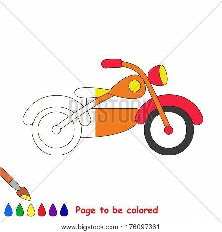 Bike to be colored, the coloring book to educate preschool kids with easy kid educational gaming and primary education of simple game level. The colorless half of picture to be colored by sample half.