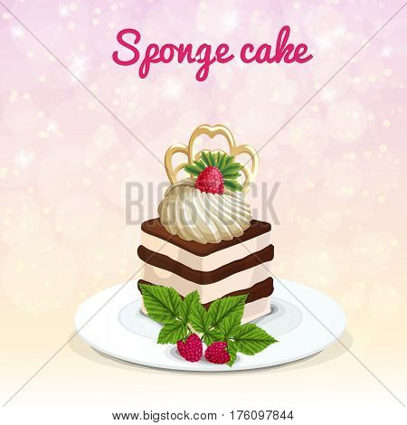Piece of sponge cake on white plate with meringue decorated raspberry on sparkling light background vector illustration