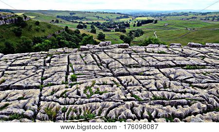 The top of Malham Cove, Yorkshire, where scenes from Harry Potter and the Deathly Hallows were filmed.