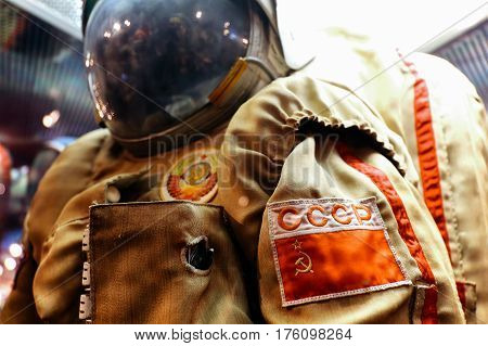 MOSCOW, RUSSIA - JUNE 12, 2016: Russian/USSR astronaut spacesuit on exhibit at Moscow Space Museum