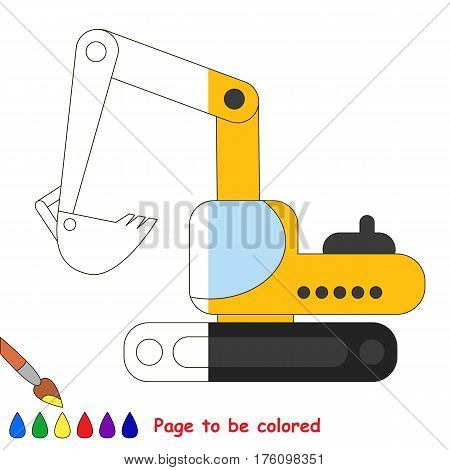 Excavator to be colored, the coloring book to educate preschool kids with easy kid educational games and primary education of simple game level, colorless half of picture to be colored by sample half.