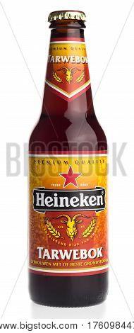 GRONINGEN, NETHERLANDS - MARCH 10, 2017: Bottle of dutch Heineken Bock beer isolated on a white background