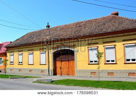 Typical houses in the village Bod, Transylvania, Romania