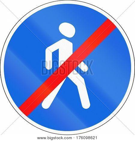 Belarusian Regulatory Road Sign - No Pedestrians
