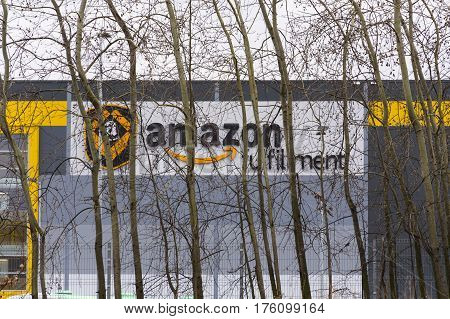 Dobroviz, Czech Republic - March 12: Online Retailer Company Amazon Fulfillment Logistics Building O