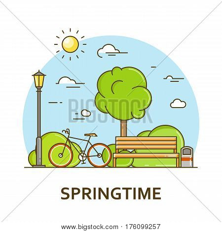 City landscape with bench and street lamp in public park. Vector illustration in flat line style. Season architecture design for banner or card. Spring nature background. Outdoor activity concept