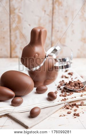 Delicious Chocolate Easter Bunny And Eggs