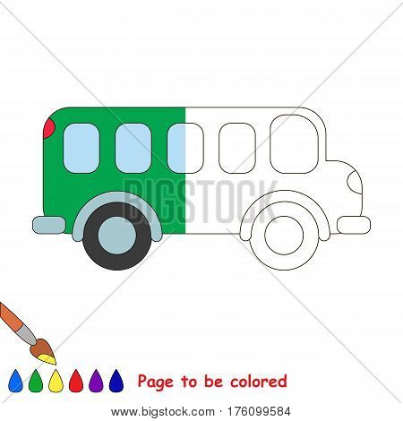 Van to be colored, the coloring book to educate preschool kids with easy kid educational gaming and primary education of simple game level. The colorless half of picture to be colored by sample half.