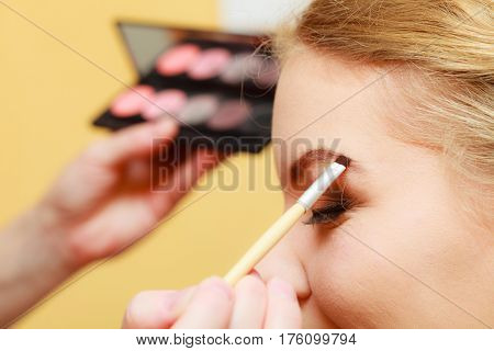 Close Up Woman Getting Make Up, Eyebrows