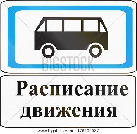 Belarusian Road Sign - Bus Schedule. The Words Mean Schedule
