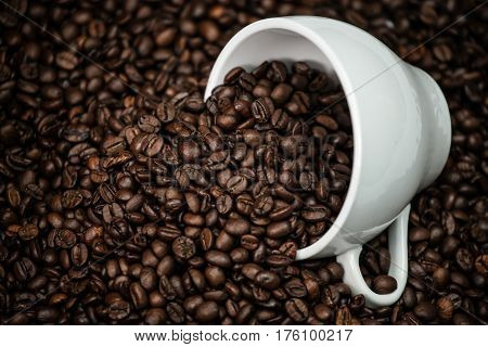Coffee, grains, dry, cup, brown, caffeine, drink, photo