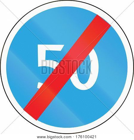 Road Sign Used In Belarus - End Of Minimum Speed