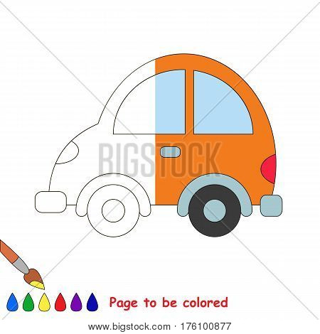 Car to be colored, the coloring book to educate preschool kids with easy kid educational gaming and primary education of simple game level. The colorless half of picture to be colored by sample.