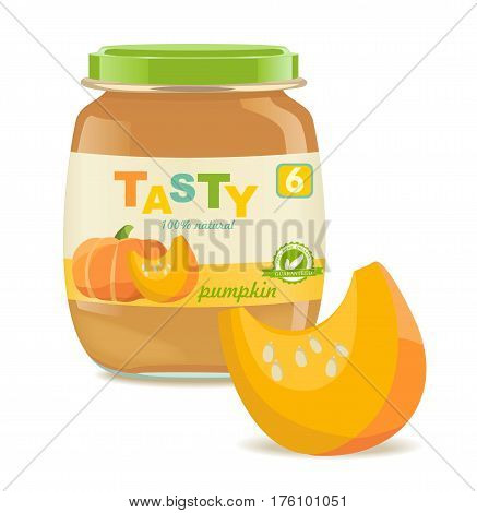 Detailed glass jar with pumpkin baby puree. Great modern design of label. Vector illustration