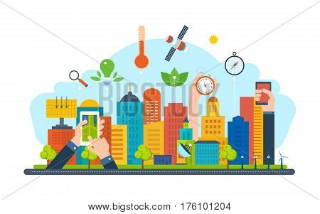 Smart city and ecological concept. New eco-friendly technology, infrastructure, communication, technological progress. Vector illustration isolated on white background.
