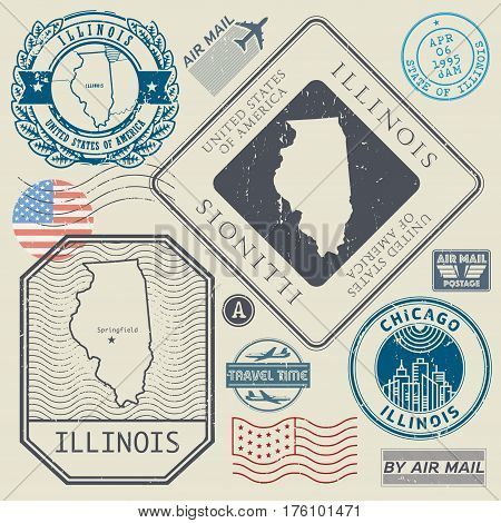 Retro vintage postage stamps set Illinois United States theme vector illustration