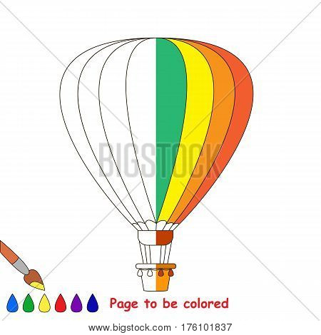 Aerostat to be colored, the coloring book to educate preschool kids with easy kid educational gaming and primary education of simple game level. The colorless half of picture to be colored by sample.