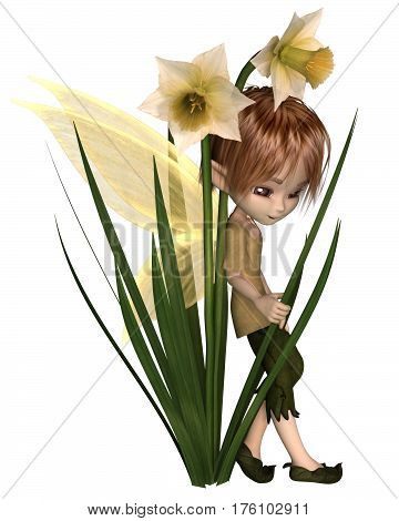 Cute toon daffodil fairy boy leaning on spring daffodil flowers, digital fantasy illustration (3d rendering)