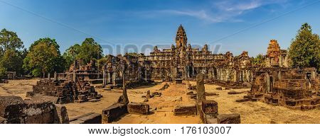 Prasat Bat Chum is a small temple in Angkor Complex, Cambodia. It consists of three inline brick towers with single gopura. Ancient Khmer architecture, famous Cambodian landmark, World Heritage