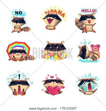 Emotions of raccoon set with laugh sadness fear love anger happiness sleep cartoon style isolated vector illustration