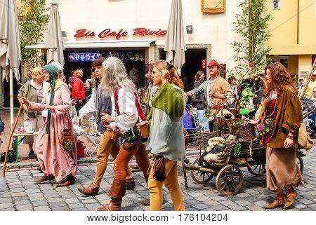 Landshut,Germany-June 30,2013: People in medieval dress walk during the Landshuter Hochzeit historical pageant in Landshut Germany