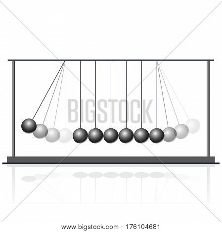 Vector Newton swing. Pendulum cradle metal bolls. Flatten master illustration.