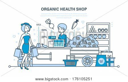 Young fashion girl attends organic health store with large shopping, cashier puts the goods on showcase and sells them. Illustration thin line design of vector doodles, infographics elements.