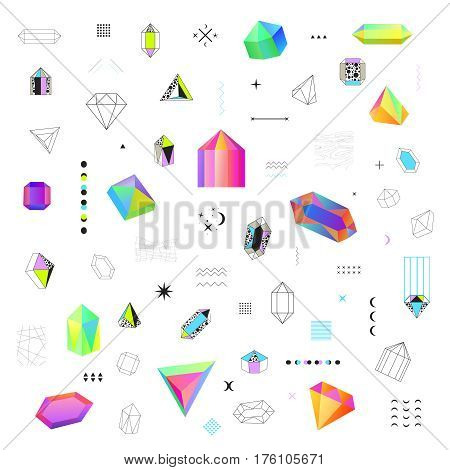 Geometric diamond prism shaped polygonal crystals bright  colorful and black contour outline icons big set isolated vector illustration