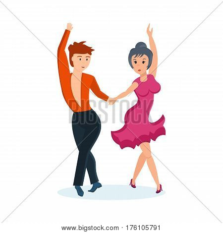Couple dancing concept. Young man and woman in a bright beautiful clothes, passionate dance movable cha-cha-cha, in an interesting setting, with sharp attractive movements, music. Vector illustration