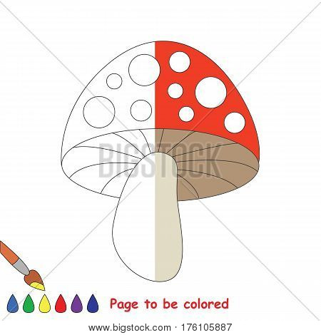 Toadstool mushroom to be colored, the coloring book to educate preschool kids with easy kid educational gaming and primary education of simple game level, colorless half to be colored by sample half.