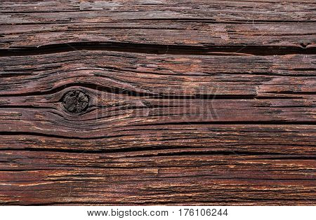 Wooden background. Old dilapidated wooden surface with cracks and knot.