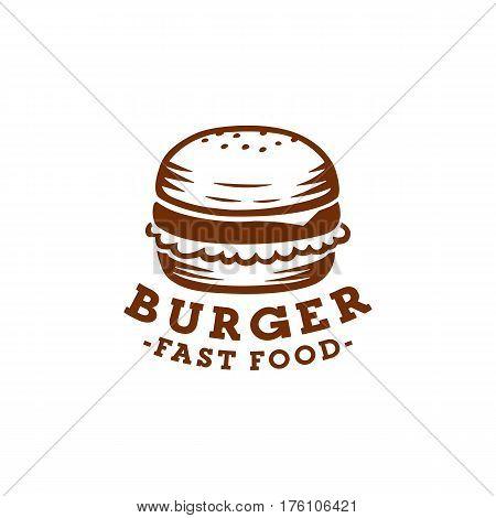 Burger logo, burger labels and emblem. Vector burger.
