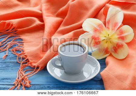 Morning Breakfast With Spring Tulips And Silk Shawl On Table