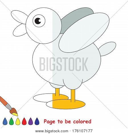 Duck to be colored, the coloring book to educate preschool kids with easy kid educational gaming and primary education of simple game level, colorless half to be colored by sample half.