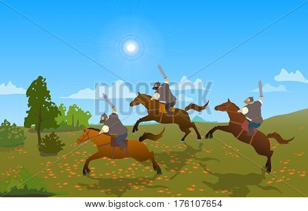 Russian medieval warriors. Armed riders. Heroes of national legends. Set of cartoon characters of the Slavic epos. Thematic collection for design. Vector background EPS10