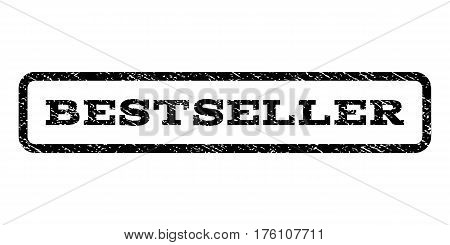 Bestseller watermark stamp. Text caption inside rounded rectangle with grunge design style. Rubber seal stamp with dust texture. Vector black ink imprint on a white background.
