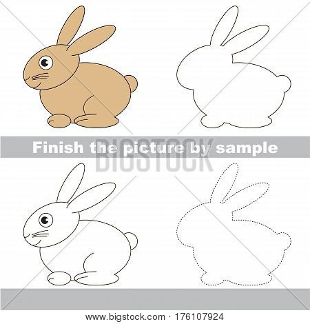 Drawing worksheet for children. Easy educational kid game. Simple level of difficulty. Finish the picture and draw the cute Hare.