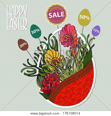 Easter Sale Background With Egg Like Basket With Flowers And Stickers In The Shape Of Eggs With Disc