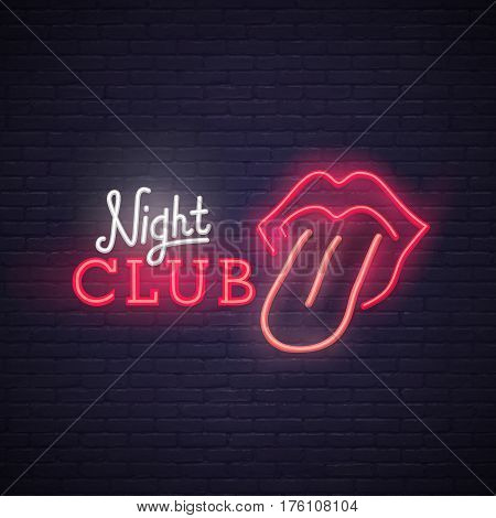 Open mouth with red female lips and tongue. Neon sign, bright signboard, light banner. Night club logo, emblem.