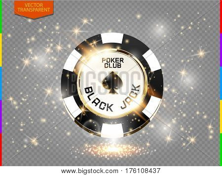 VIP poker chip with sparkling light effect vector. Black jack poker club casino spades emblem with sparks isolated on transparent background