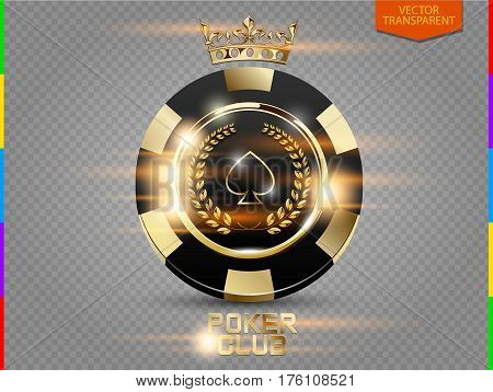 VIP poker black and golden chip with light effect vector. Royal poker club casino emblem with crown laurel wreath and spades isolated on transparent background