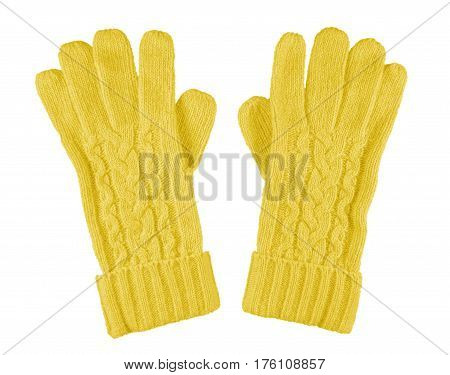 Woolen Gloves Isolated - Yellow