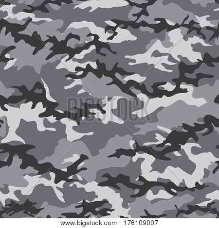 Camouflage seamless pattern background with gray spots. Military camouflage pattern. Fashionable camouflage textile. Military print. Seamless vector wallpaper. Clothing style masking. Repeat print.