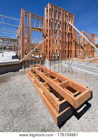 New house construction with wood framing underway