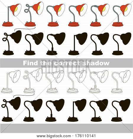Lamps set to find the correct shadow, the matching educational game to compare and connect objects and their true shadows, kid logic game with simple game level for preschool kids education.