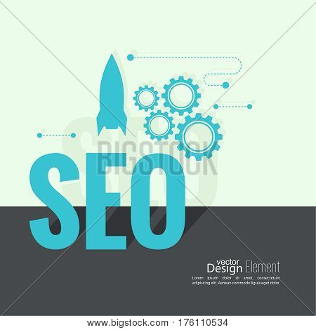 The concept of search engine optimization and a quick start. Promoting Rating. SEO. Improved search. The rocket, magnifying glass, gears. Flat design with shadow