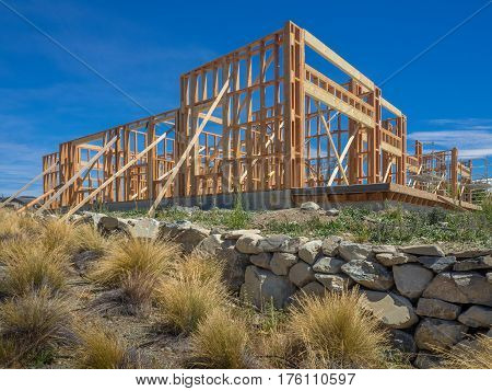 Framing of a new house under construction